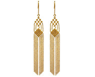 Gold Tassel Faceted Bead Earrings