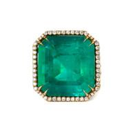 Emerald Diamond Halo Ring in 18k Yellow Gold