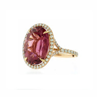 Rose Gold Tourmaline Split Shank Ring with Diamonds