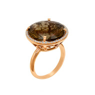 Round Smoky Quartz Ring in Rose Gold