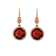 Round Garnet Drop Earrings in Rose Gold