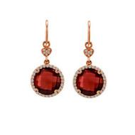 Round Garnet Drop Earrings in Rose Gold
