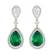 White Gold Pear Shape Drop Emerald Earrings