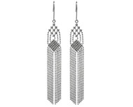 White Gold Tassel Faceted Bead Earrings