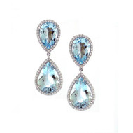 White Gold Aquamarine Drop Earrings with Micro Pave Diamonds