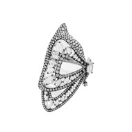 White Gold Butterfly Ring with Rose Cut Diamonds and Black Rhodium