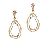 Gold Free Form Earrings with Cognac Diamonds and Micropave Diamonds