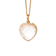 Heart Shape Rose Quartz Pendant with Diamonds
