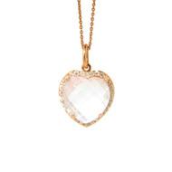 Heart Shape Rose Quartz Pendant with Diamonds