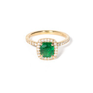 Cushion Cut Emerald Engagement Ring with Diamond Halo