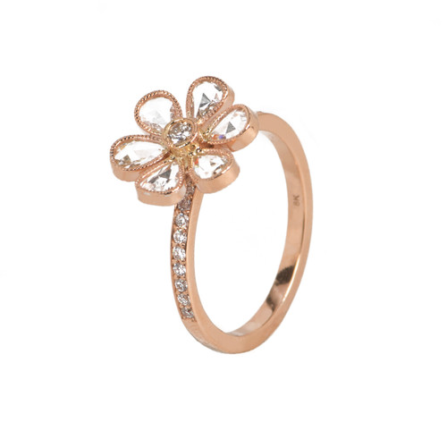 rose gold flower diamond ring - Flower Wedding Rings