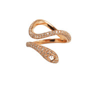 Rose Gold Snake Ring with Rose Cut Diamond & Micro Pave Champagne Diamonds