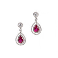 Pear Shaped Ruby Earrings with Halo of Micropave Diamonds
