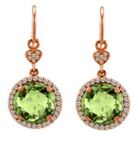 Lisa Nik Green Quartz Drop Earrings in Rose Gold