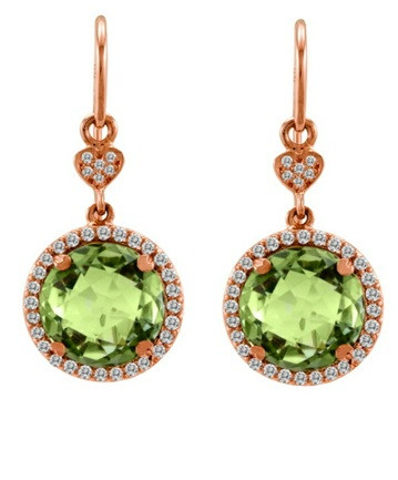 Lisa Nik Green Quartz Drop Earrings in Rose Gold