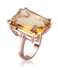 Lisa Nik Citrine Emerald Cut Ring