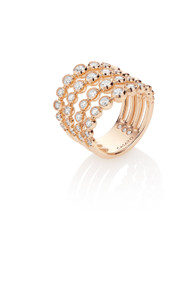 Casato Bezel Diamond Ring in Rose Gold 4 Row
