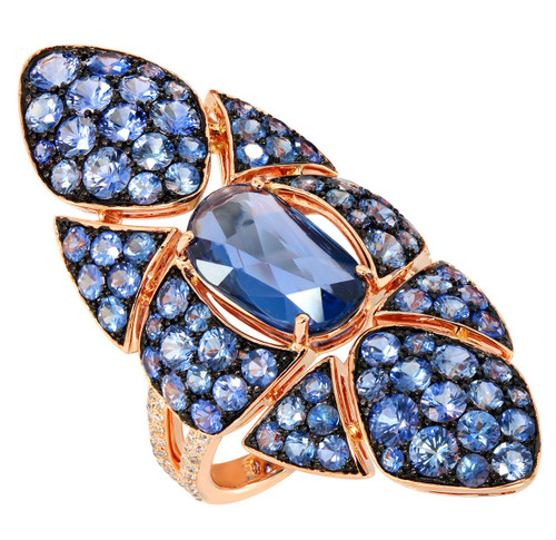 Etho Maria Blue Sapphire Ring in Rose Gold Designer Jewelry NYC