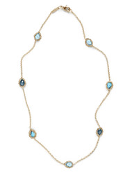 Anzie Dew Drop Crew Necklace - Blue Topaz
