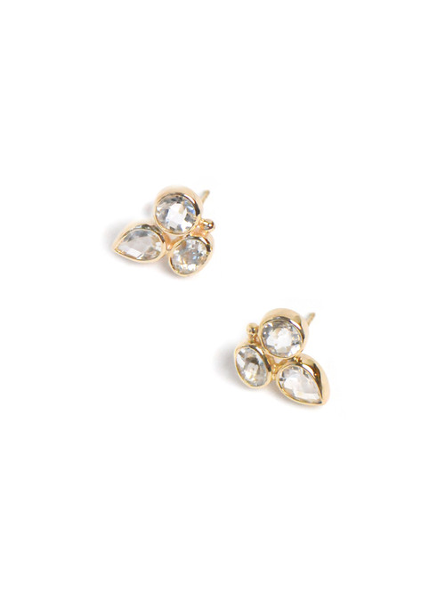 Anzie Bezel Bouquet Studs - Clear Topaz & Gold | Bridal Earrings