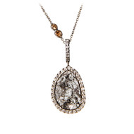 Diamond Slice Necklace on Champagne Diamond Chain