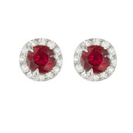Ruby and Diamond Studs