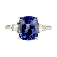 Sapphire Three Stone Engagement Ring with Bullets
