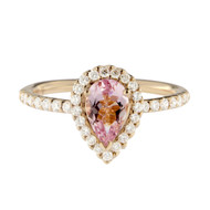 Morganite Pear Shape Ring in Rose Gold