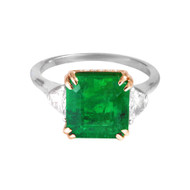 Emerald Engagement Ring with Rose Gold