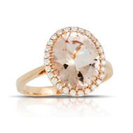 Morganite Oval Ring in Rose Gold