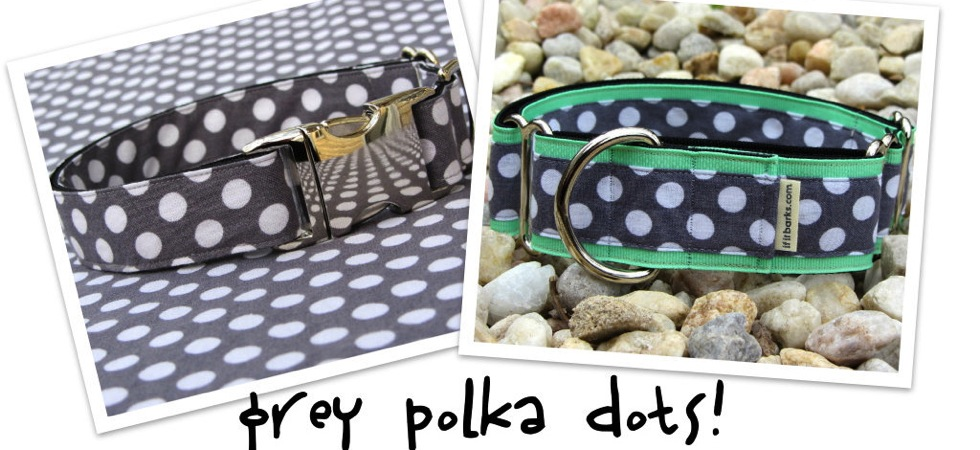 Grey Polka Dot Dog Collars