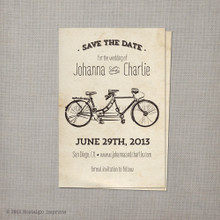 Tandem Bicycle 1 - 4x6 Vintage Save the Date Card