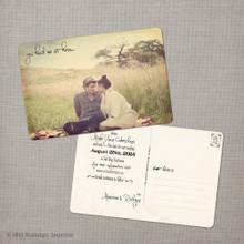 Marissa 1 - 4x6 Vintage Photo Save the Date Postcard card