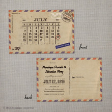 Airmail 3 - 4x6 Vintage Save the Date Postcard calendar card