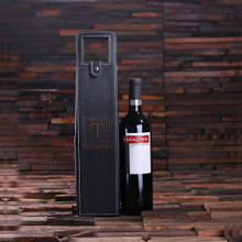 Groomsmen Bridesmaid Gift Personalized Single Bottle Wine Holder Pouch – Black Leather