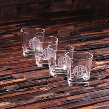 Groomsmen Bridesmaid Gift Personalized Set of 4 Whiskey Glasses