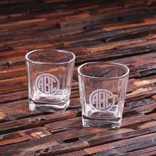 Groomsmen Bridesmaid Gift Personalized Set of 2 Whiskey Glasses
