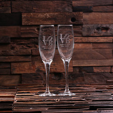 Groomsmen Bridesmaid Gift Personalized His and Hers Mr. and Mrs. Champagne Glasses