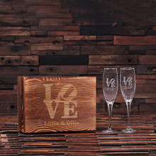 Groomsmen Bridesmaid Gift Personalized His and Hers Mr. and Mrs. Champagne Glass With Wood Gift Box
