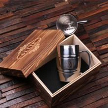 Groomsmen Bridesmaid Gift Personalized Stainless Steel Beer Mug – 14 oz. Monogram with Wood Box