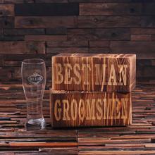 Groomsmen Bridesmaid Gift Personalized Pilsner Beer Glass with Keepsake Box – 24 oz.