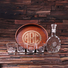 Groomsmen Bridesmaid Gift Personalized Bar Tray Set – Grand Tray Set with 4 Whiskey Glasses