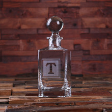 Groomsmen Bridesmaid Gift Personalized Whiskey Decanter with Global Bottle Lid – F