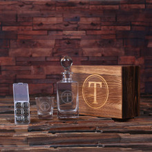 Groomsmen Bridesmaid Gift Personalized Scotch Whiskey Decanter Bottle Glass 6 Ice-Cubes with Wood Box