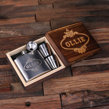 Groomsmen Bridesmaid Gift Personalized 5 oz Steel Metal Whiskey Flask 2 Steel Metal Glasses and Wood Box