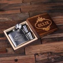 Groomsmen Bridesmaid Gift Personalized 5 oz Steel Metal Whiskey Flask 2 Steel Metal Glasses and Wood Box