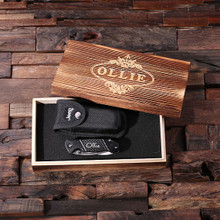 Groomsmen Bridesmaid Gift Personalized Jeep Utility Knife with Case & Wood Box