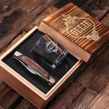 Groomsmen Bridesmaid Gift Personalized 2 Piece. Gift Set with Keepsake Box – Shot Glass and 3-Blade Pocket Knife