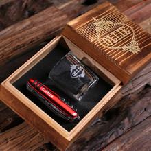 Groomsmen Bridesmaid Gift Personalized 2 Piece. Gift Set with Keepsake Box – Shot Glass and Pocket Knife