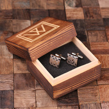 Groomsmen Bridesmaid Gift Personalized Engraved Cuff Links – Checkered Monogram